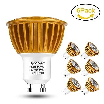Jpodream GU10 LED Bombillas Blanco cálido 3000K, 7W COB Lámpara LED, Equivalente a 60Watt