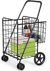 Goplus Folding Shopping Cart Jumbo Double Basket Perfect for Grocery Laundry Book Luggage Travel with Swivel Wheels Utility Cart (Black)