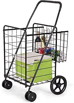 Folding Shopping Trolley Leisure Trolley Grocery Laundry Utility Cart Hand Cart Fits in Most Size car Trunks Travel and Recreational use auto Ideal for Home Office