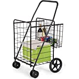 Goplus Folding Shopping Cart Jumbo Double Basket Perfect for Grocery Laundry Book Luggage Travel with Swivel Wheels…