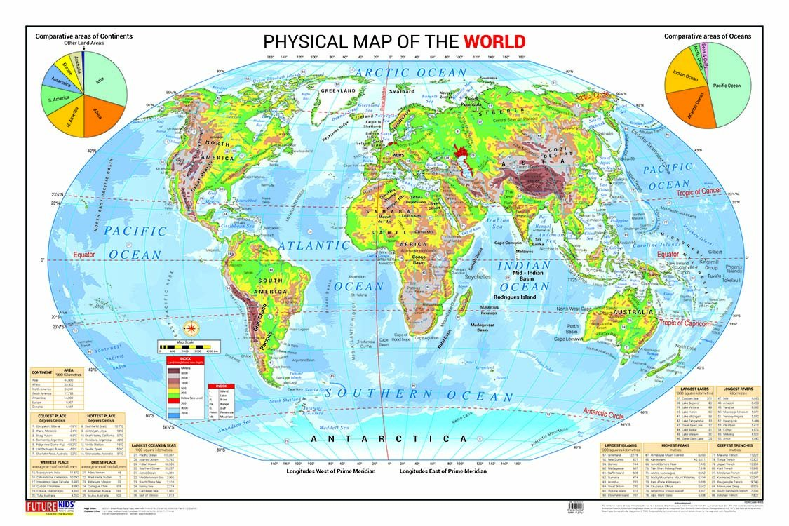 Physical Map of the World (50.8cm X 76.2cm): Amazon.in: Future Kids ...