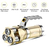 Rechargeable Flashlight Wuudi CREE LED Hunting Torch Tactical Flashlight Portable Lamp for Camping, Hiking, Fishing and Emergency (Gold)