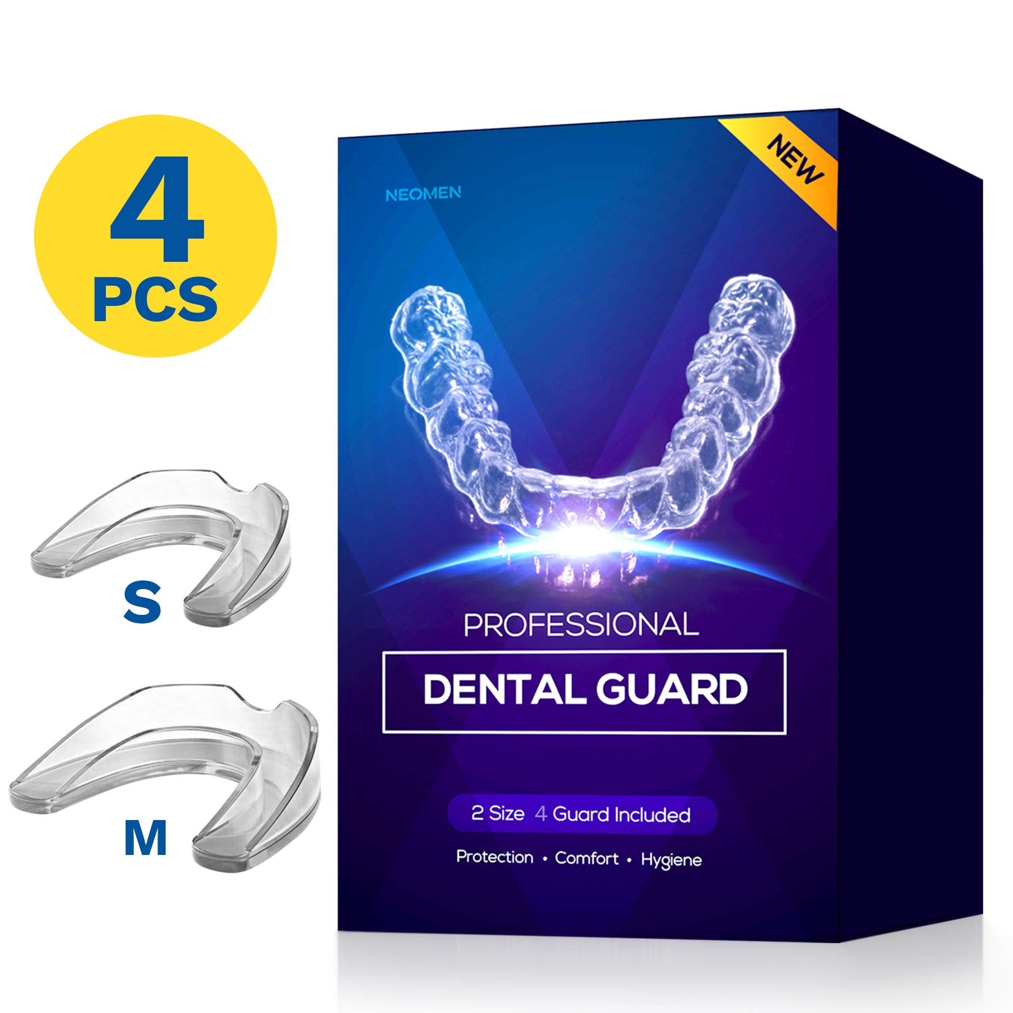 Neomen Professional Dental Guard - 2 Sizes, Pack of 4 - New Upgraded Anti Grinding Dental Night Guard, Stops Bruxism, Tmj & Eliminates Teeth Clenching, 100% Satisfaction by NEOMEN