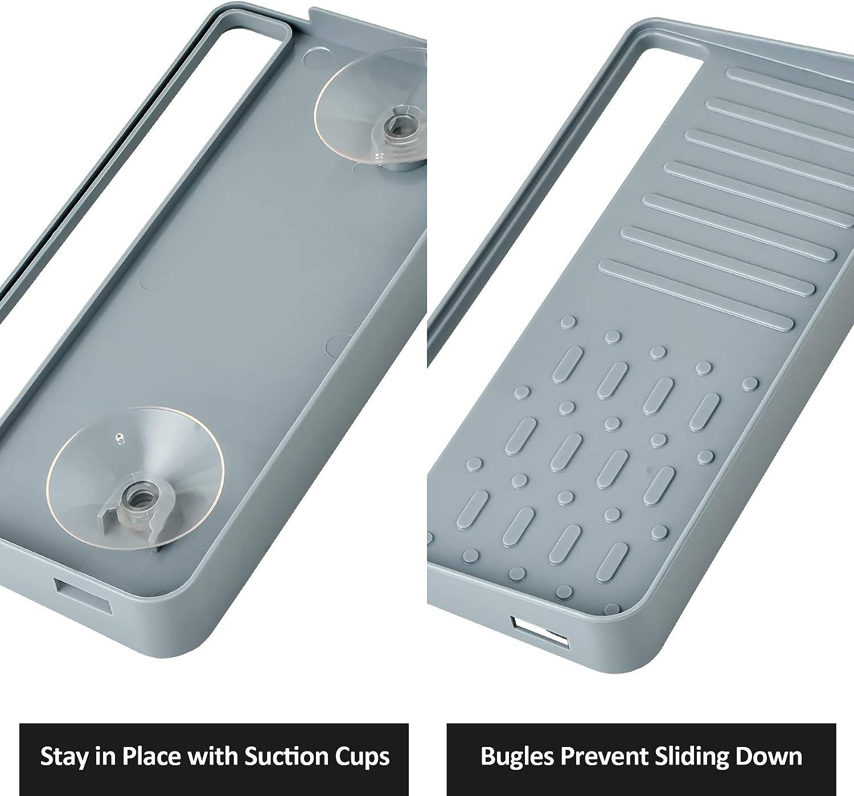YOHOM Kitchen Sink Tray On-Sink Washing up Organiser Rack Countertop Sponge Soap Holder Gray