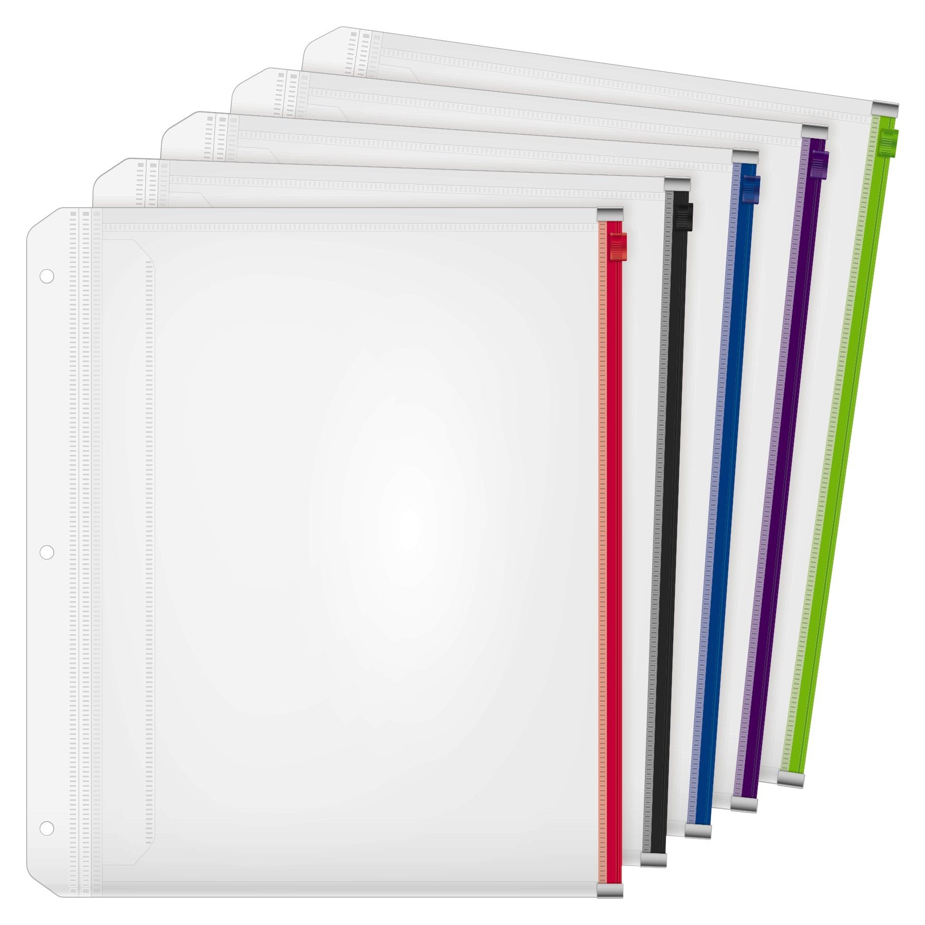 Cardinal Expanding Zipper Binder Pocket, 1/2'', Assorted Colors, 5 per Pack (14650)