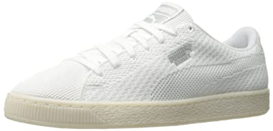 PUMA Men's Basket Knit Mesh Fashion Sneaker White gray Violet Size 7.5