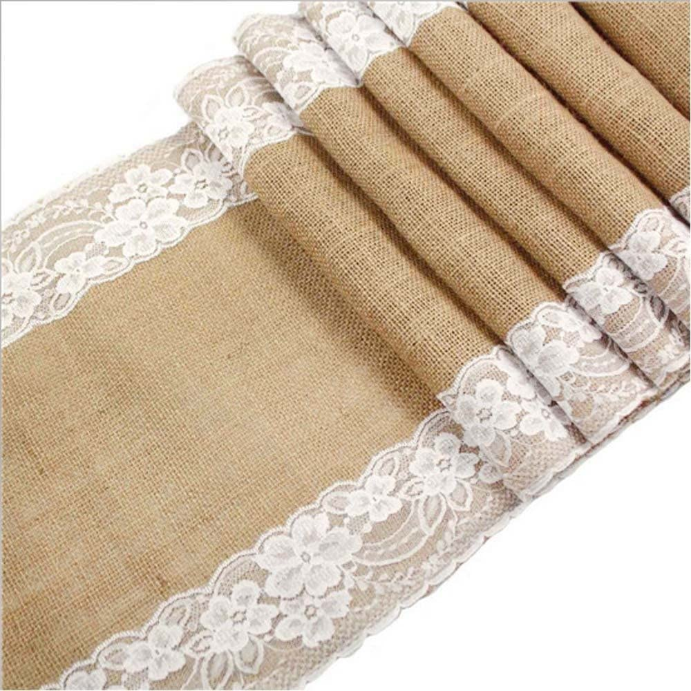 Awtlife 12 x 120 Inch Burlap Table Runner for Wedding Bridal Shower Baby Shower Party Decor, Thanksgiving, Christmas, Engagement (120