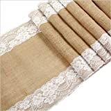 "12"" x108"" Burlap Lace Hessian Table Runner for Vintage Wedding Party Decor Rustic (1)"