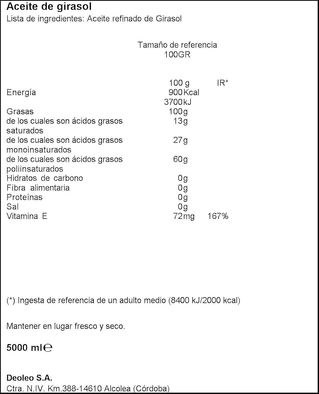 Aceite de semillas girasol Koipesol 5 litro pet: Amazon.es: Alimentación y bebidas