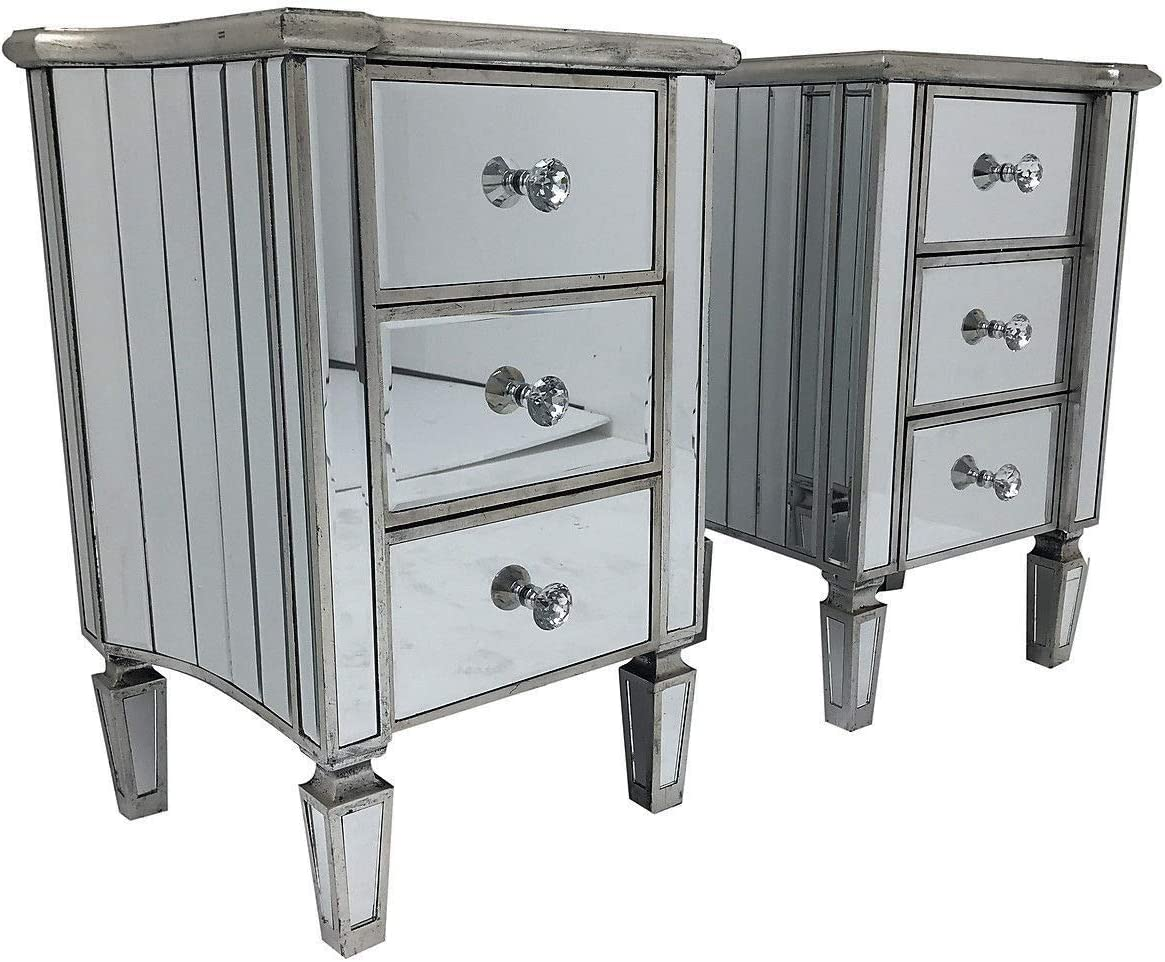 Interiors In Vogue Pair Venetian Mirrored 3 Drawer Bedside Cabinet Chest Furniture Glass Nightstand Amazon Co Uk Kitchen Home