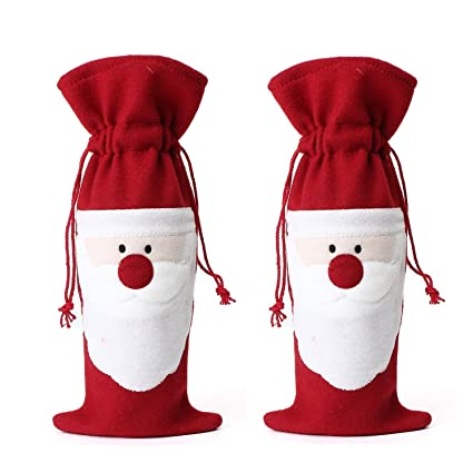 santas gift sack red velvet fabric bags with cute santa claus face for wrapping christmas gifts