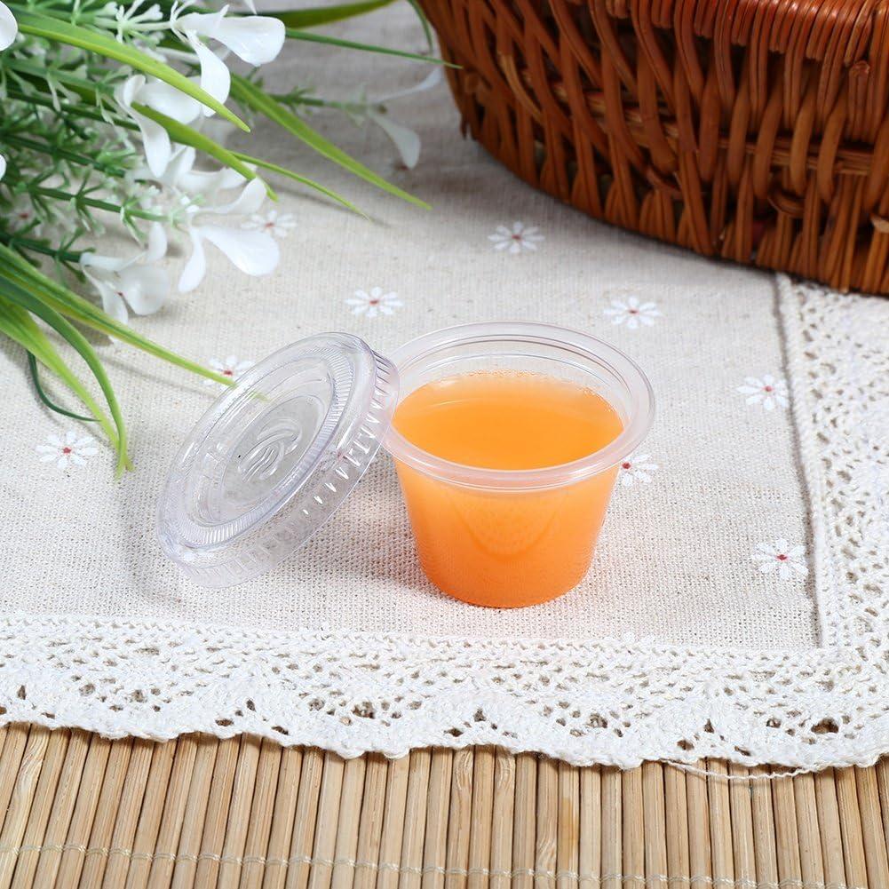 Garosa 50PCS Tasses Transparent de D/égustation de Sauce Rejetable Plastique avec Couvercles Porte-gobelet R/écipients Souffl/ée Tasse Bo/îtes pour Salade Sauce Conserver NourritureCoupe de Sauce 1oz