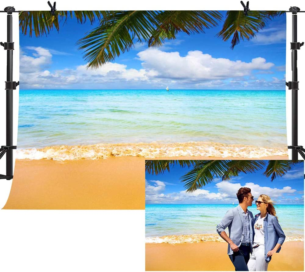 Travel 10x12 FT Photo Backdrops,Beach Sunbeds Ocean Sea Scenery with Wooden Seem Pier Image Print Background for Photography Kids Adult Photo Booth Video Shoot Vinyl Studio Props