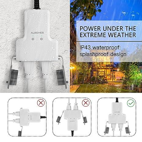 Albohes Enchufe Impermeable inteligente, Interruptores a Distancia, WiFi Enchufe, control remoto, Adecuado para Espacios Abiertos como Jardines y Balcones, ...