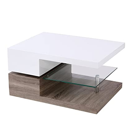 SUNCOO Swivel Coffee Table W/Glass Furniture (Rectangular, Whiteu0026Natual)