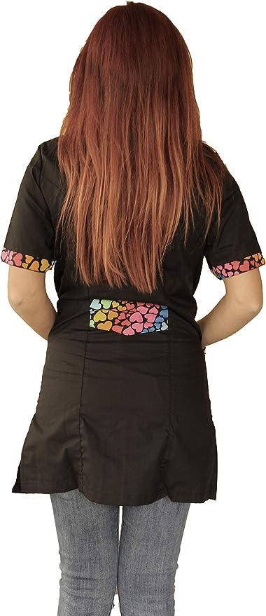 Petersabitidalavoro Camice da Estetista con Inserti Colorati Slim Fit Bottoni a Pressione Collo Coreano Nero