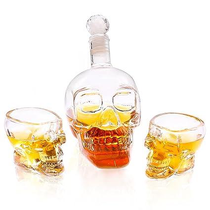 Grenhaven whisky botella Cráneo jarra botella de vidrio / Crystal botella 350 ml + 2x vasos