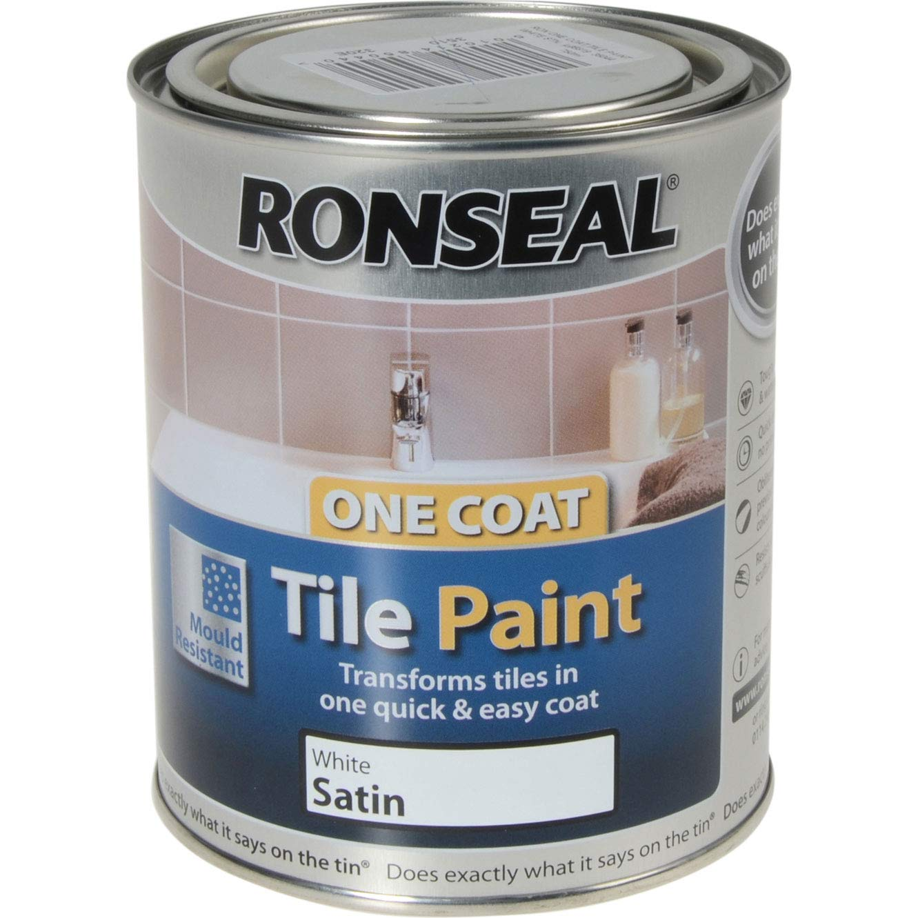 Ronseal One Coat Tile Paint - Brilliant White - 750ml