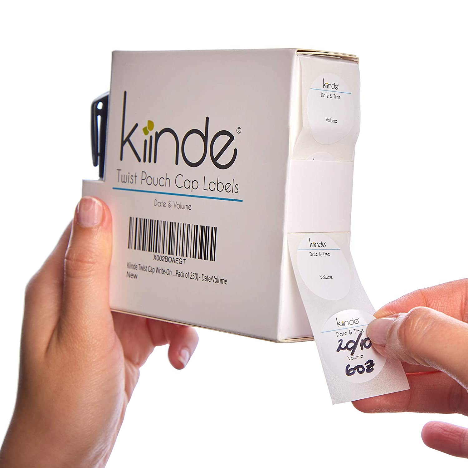 Kiinde Twist Cap Single-Use Write-On Labels for Breast Milk and Baby Food Storage Pouches (Pack of 250) - Includes Label Dispenser with Marker and Marker Holder - Date/Volume