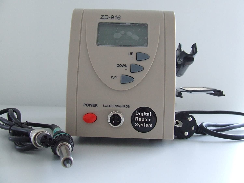 zhongdi ZD de 916 Digital Soldadura Soldador 60 W por microprocesador 160 °C - 480 °C: Amazon.es: Industria, empresas y ciencia