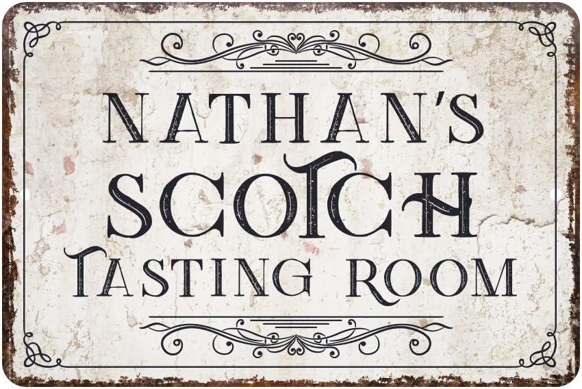 Pattern Pop Personalized Vintage Distressed Look Scotch Tasting Room Metal Sign