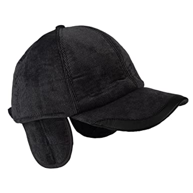 men winter fleece lined visor hat adjustable baseball cap black corduroy with ear flaps