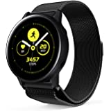 Littleforest 20mm Band Compatible for Samsung Galaxy Watch Active Band/TicWatch C2 Band, Milanese Loop Stainless Steel Metal Replacement Bracelet Strap with Unique Magnet Lock Wristbands - Black