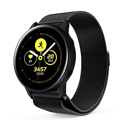 Littleforest 20mm Bands Compatible for Samsung Galaxy Watch Active/TicWatch C2 Smartwatch Band, Milanese Replacement Bracelet Strap with Magnet Lock