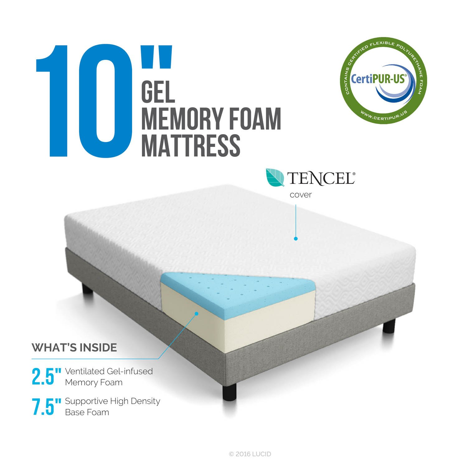 amazoncom lucid 10 inch gel memory foam mattress dual layered certipur us certified 10 year warranty queen kitchen dining - Memory Foam Mattress