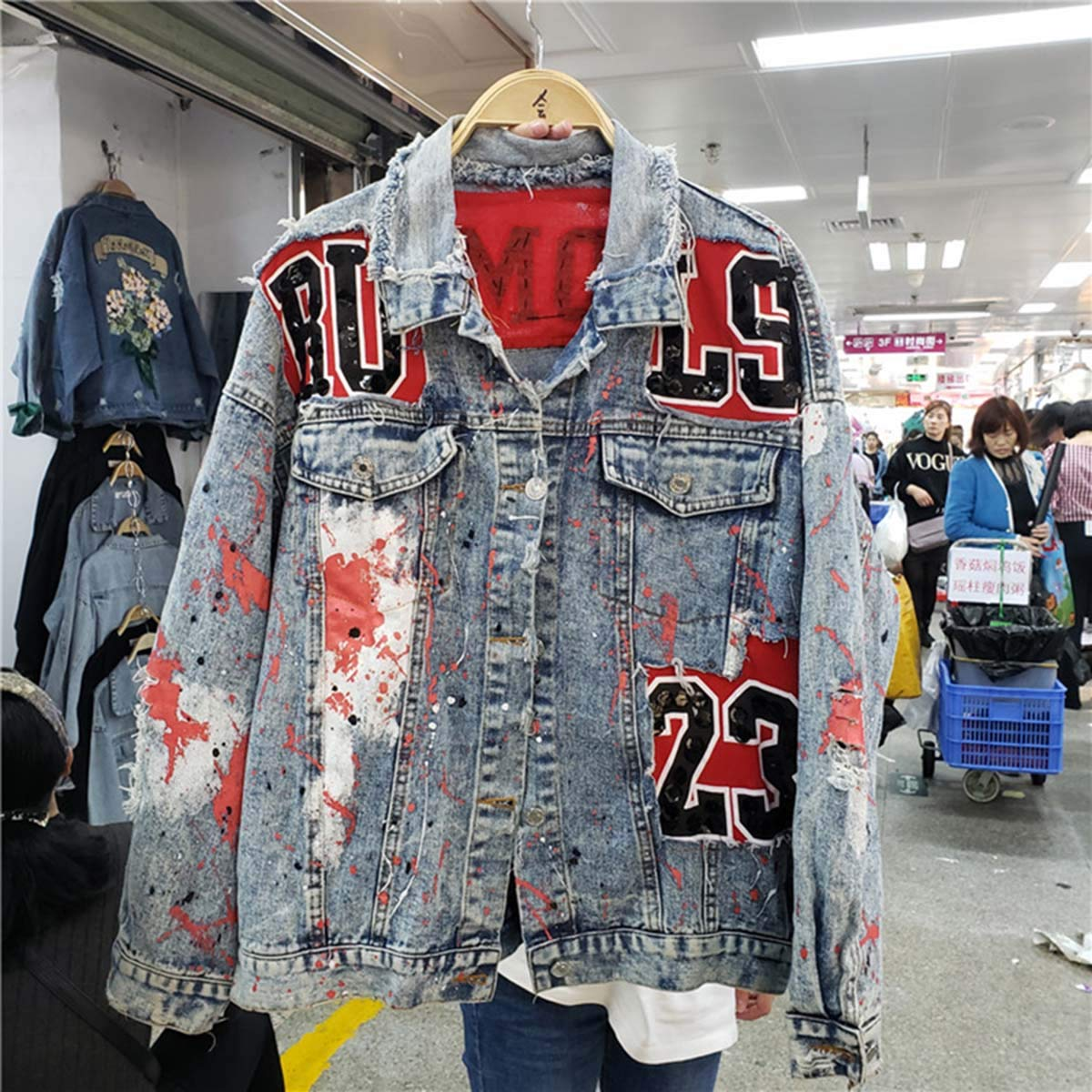 RACHEL KERR Spring Graffiti Printed Denim Coat Long Sleeve Pearl Loose Harajuku BF Jeans
