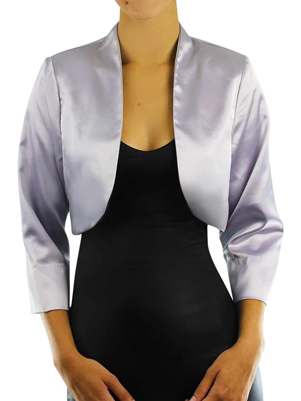 Luxury Divas Dressy Satin 3/4 Sleeve Bolero Shrug Jacket APC00029