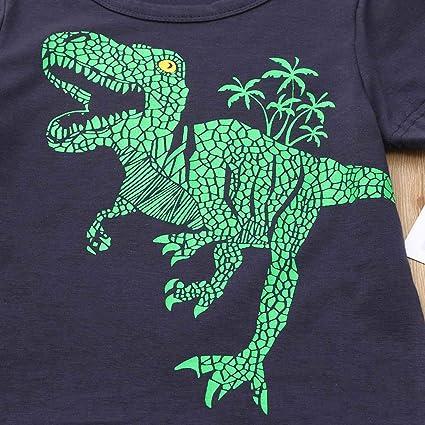 Pantaloni con Stampa Dinosauri 2 Pezzi Costume Set Primaverili Estate 2-7 Anni Bambino Bambine feiXIANG Top