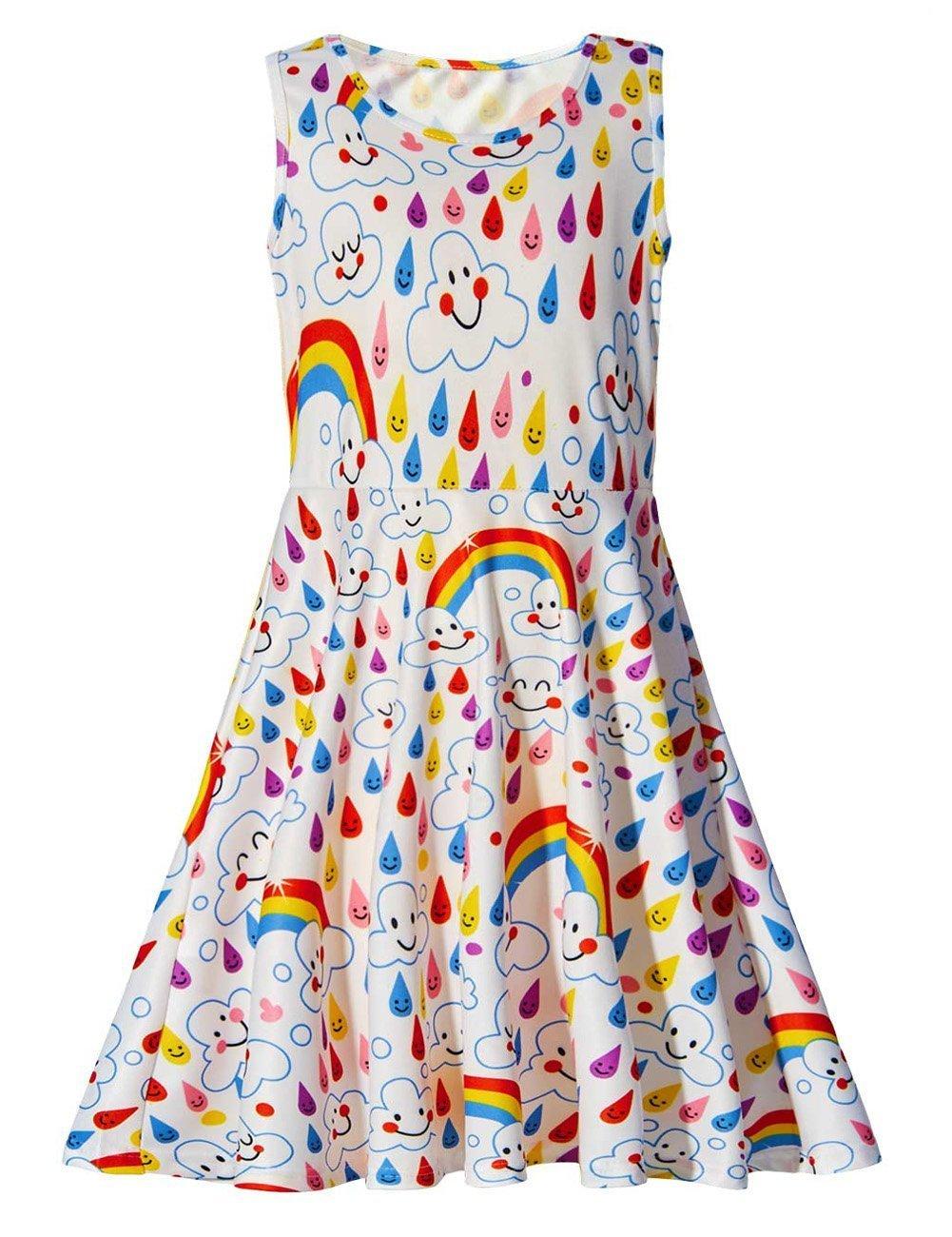 Uideazone Girls Rainbow and Emoji Sleeveless Dress Summer Maxi Dress 6-7 Years