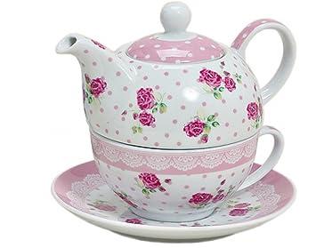 Teekanne in grün und mit einer weißen Tasse aus Porzellan Tea for one Teeset