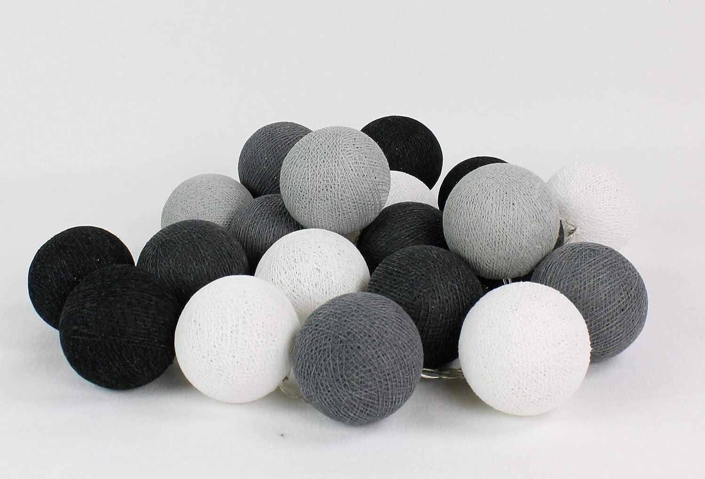 Cotton Ball Lights Antra 20 LED Lichterkette mit USB Anschluss Baumwolle White - Stone - Mid Grey - Antracite - Black