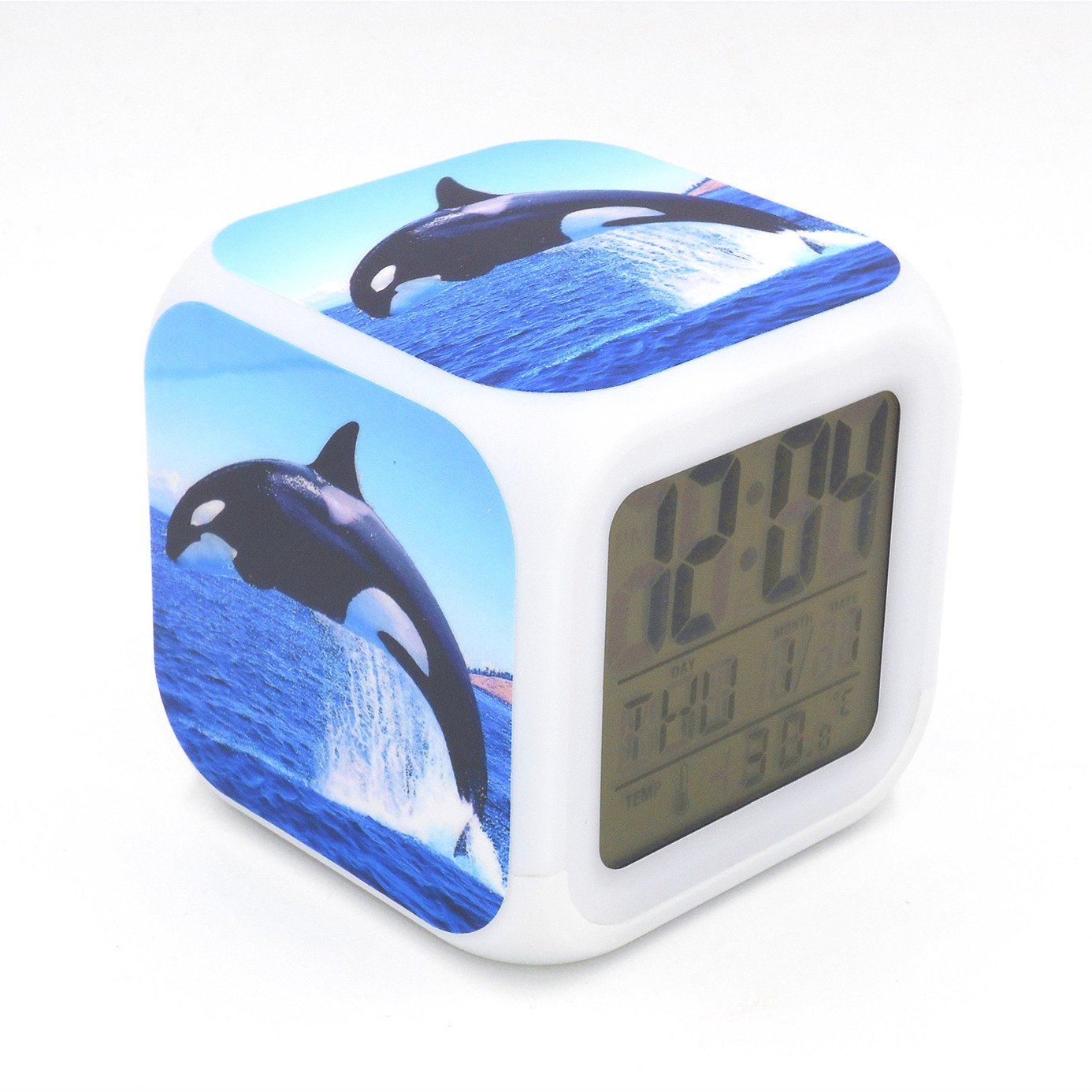 EGS New Orca Killer Whale Ocean Animal Digital Alarm Clock Desk Table Led Alarm Clock Creative Personalized Multifunctional Battery Alarm Clock Special Toy Gift for Unisex Kids Adults
