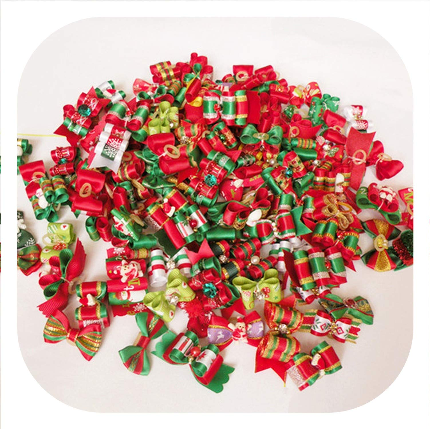 100PC/Lot Christmas Dog Bows Ribbon Pet Dog Hair Bows Dog Grooming Accessories Holiday Supplies Mix Styles,Mix Colors by PG-One