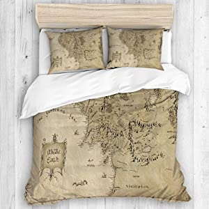 CHANHAAN Duvet Cover Set,Lord of The Ring Map of Middle Earth,Decorative 3 Piece Bedding Set with 2 Pillow Shams Queen Size
