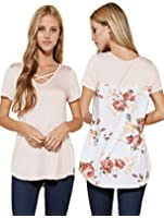SHOPGLAMLA Criss Cross Print Boutique Short Sleeves Top. Made in USA
