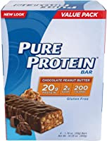 Pure Protein Bars, High Protein, Nutritious Snacks to Support Energy, Low Sugar, Gluten Free, Chocolate Peanut Butter,...