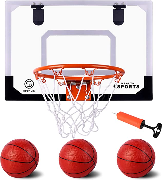 Indoor Mini Basketball Hoop Set for Kids Pro Basketball Hoop with 3 Balls for Door & Wall in Bedroom Office Indoor Slam Dunk Game for Boys and Adults