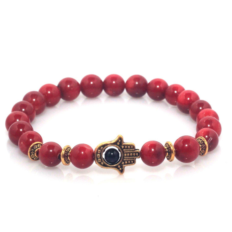 Maya Bracelets Hand of Hamsa Charm Marble Stone Bracelet (Red Coral Gold)