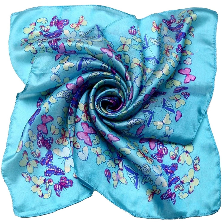 100% Silk Scarf Women Scarf Butterfly Print Small Square Silk Scarf (Sky Blue)