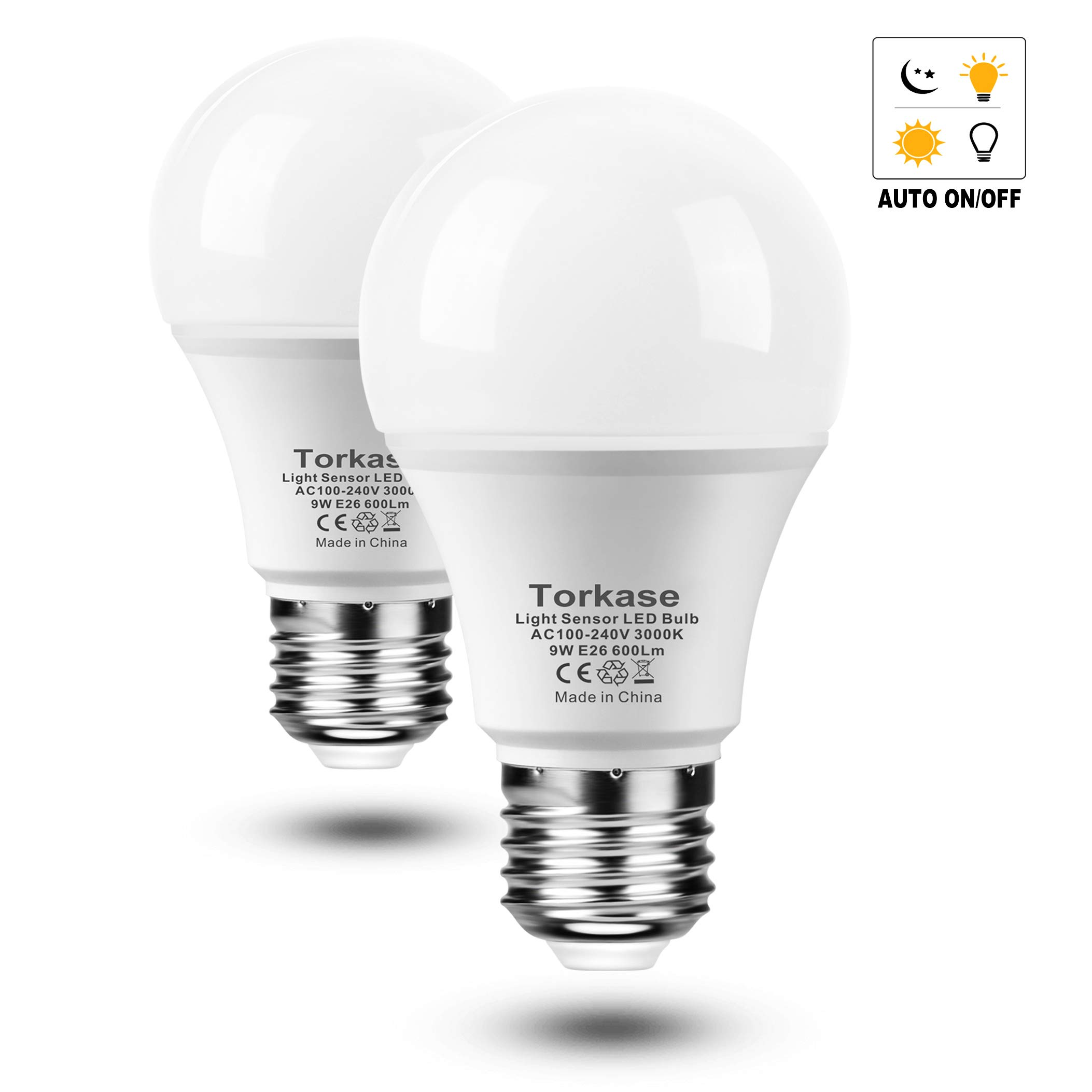 Torkase Dusk to Dawn Light Bulb, Plug and Play, Auto On/Off, Built in Photocell Detector, 85% Energy Saving, 9W/A19/E26/120V, Indoor/Outdoor Yard Porch Patio Garage Warehouse (Warm White, 2 Pack)