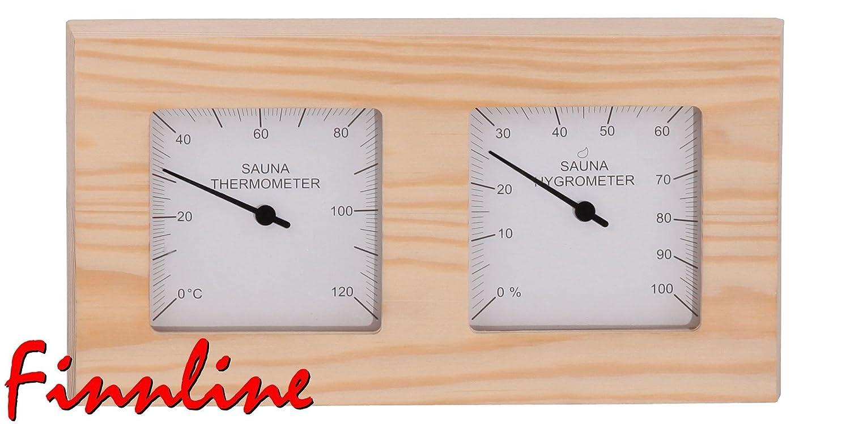 Finnline Weigand Sauna Klimamesser SUORAKULMIO I Thermometer und Hygrometer fü r die Sauna und Infrarotkabine in schö nem Holzrahmen I Saunazubehö r