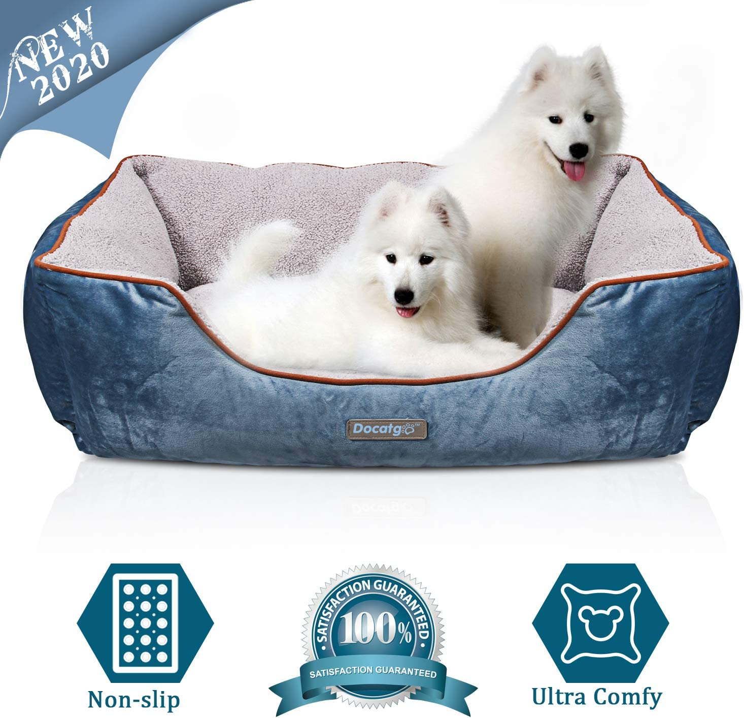 Docatgo Camas para Perros,Cama para Mascotas con Suave cojín Desmontable 80x60x25cm, Perros De Perrito Sofa con Suave cojín Desmontable