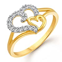 MEENAZ Royal Heart Gold and Rhodium Plated CZ Ring for Women