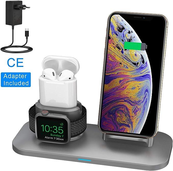 161 opinioni per Supporto Caricabatterie Wireless 3 in 1 Caricatore Stand per Apple Watch, Qi