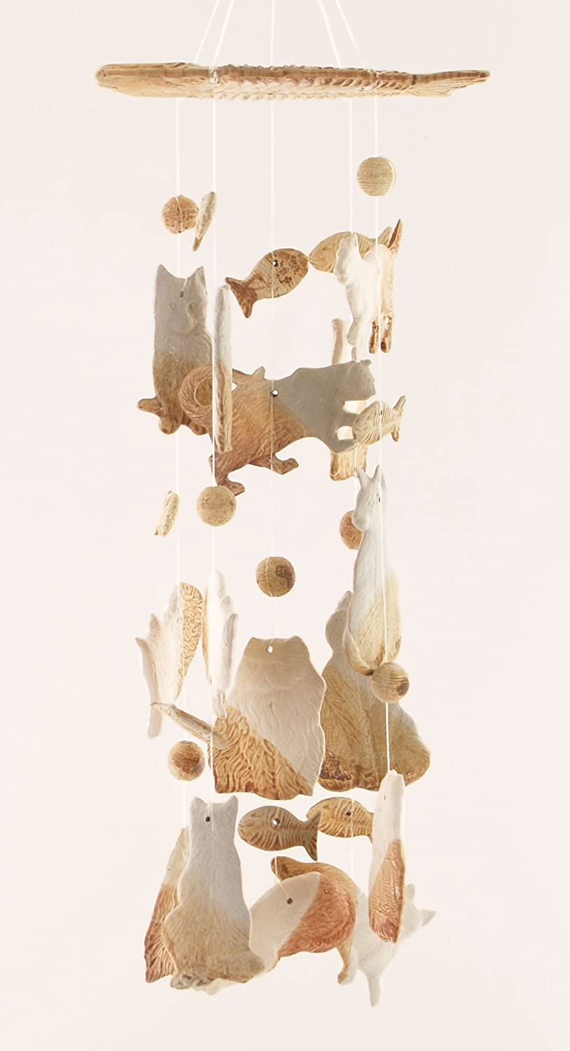 Clay Motif Here Kitty Cat House Pet 14 Inch Wind Chimes Garden Decor