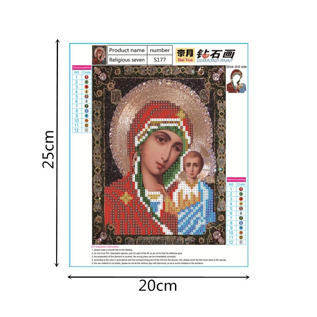 Shybuy 5D DIY Diamond Painting, Full Drill Christianity Religion Embroidery Rhinestone Cross Stitch Painting by Number Kits (G, 20cm25cm)